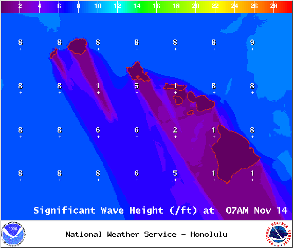 Significant Wave Height 7am - Image: NOAA / NWS