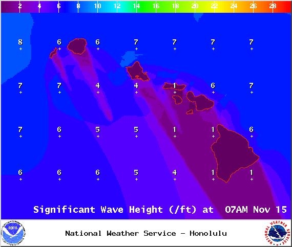 Swell height 7am - Image: NOAA / NWS