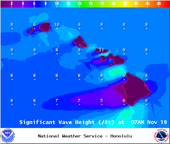Swell Heights at 7am - Image: NOAA / NWS