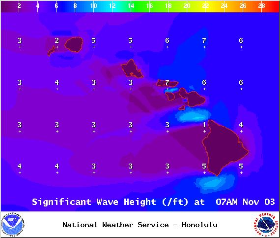Wave heights - Tuesday Nov. 4, 2014 / Image: NOAA / NWS