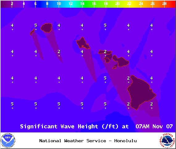 Surf heights - Image: NOAA / NWS