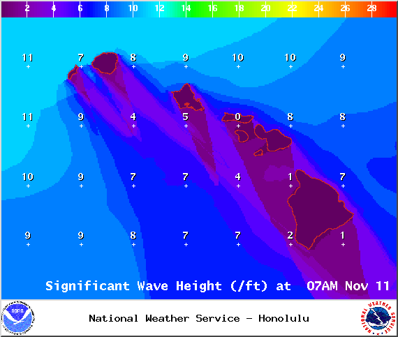 NWS forecasted wave heights at 7am - Image: NOAA / NWS
