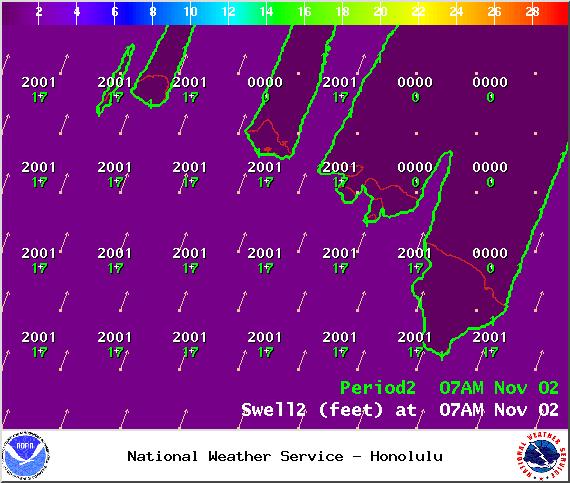 Swell 2 on Sunday Nov. 2, 2014 / Image: NOAA / NWS