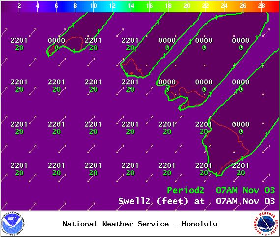 Swell 2 on Monday Nov. 3, 2014 / Image: NOAA / NWS