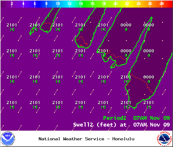 Swell 2 at 7am - Image: NOAA / NWS