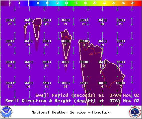 Swell 1 on Sunday Nov. 2, 2014 / Image: NOAA / NWS