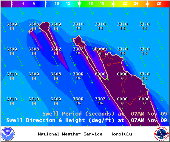 Swell 1 at 7am - Image: NOAA / NWS