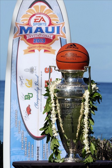The Maui Invitational Wayne Duke Championship Trophy. File photo by Brian Spurlock/USA Today Sports.