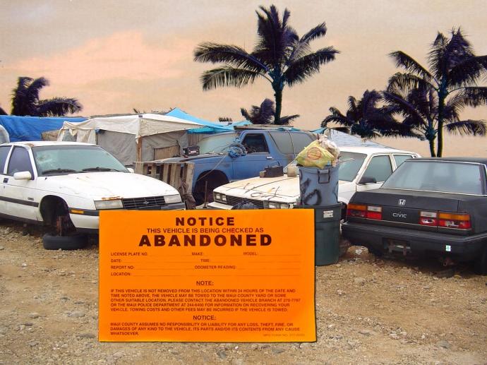 Abandoned vehicles, Maui.  Maui Now graphics/file image.