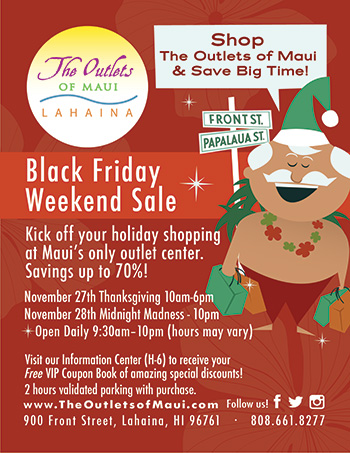 The Outlets of Maui Black Friday flyer.