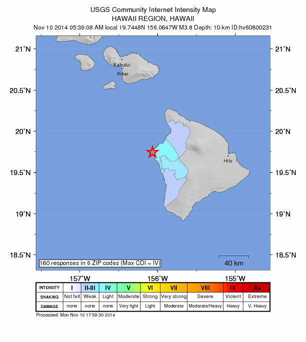 Kalaoa earthquake, 11/10/14. Image courtesy USGS.