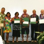 Photo courtesy of Mālama Maui Nui. From Left to Right: MMN Community Relations Manager Jen Cox, MMN Executive Director John P. de Jesus, Maui County Councilmember Elle Cochran; Honorees Robin Vierra, Les Potts, Mike Perry, Buck Joiner; MMN Board Co-President Lehn Huff.