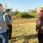 Site visit 11/1/14 at Paia beachfront acreage (Mayor Alan Arakawa, Council Chair Gladys Baisa and Grant Chun, Vice President, A&B Properties, Inc.). Photo credit: County of Maui / Ryan Piros.