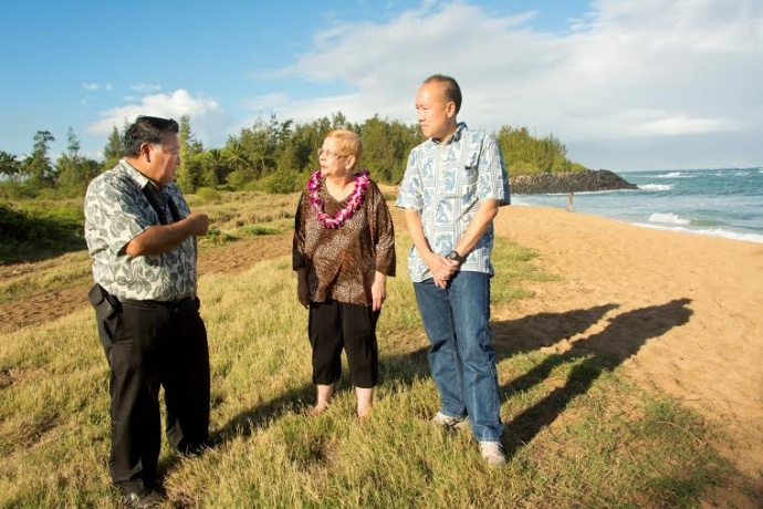 Site visit 11/1/14 at Paia beachfront acreage (Mayor Alan Arakawa, Council Chair Gladys Baisa and Grant Chun, Vice President, A&B Properties, Inc.). Photo credit: County of Maui / Ryan Piros.