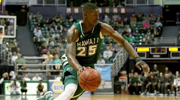 Hawaii's Mike Thomas scored all of his team-high 14 points in the first half against High Point University. Photo by UH Athletics / Jordan Fong.