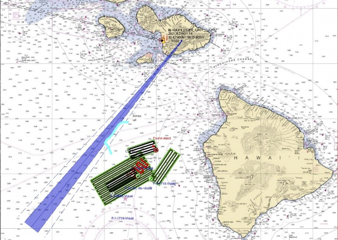 This image depicts the search area for a missing mariner off Kailua-Kona Friday. US Coast Guard image.