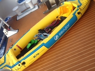The Coast Guard is asking for information about the owner of a 14-foot inflatable kayak found adrift approximately one mile off Olowalu Beach, Maui, Dec. 3, 2014. The Coast Guard advises the public to register and label all watercraft and equipment with contact information in order to quickly account for owners and prevent any unnecessary searches. (U.S. Coast Guard courtesy photo).