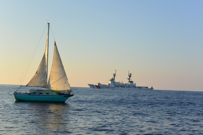 A mariner and his 25-foot sailing vessel were towed to Molokaʻi after spending 12 days lost at sea Dec. 9, 2014. US Coast Guard courtesy photo.