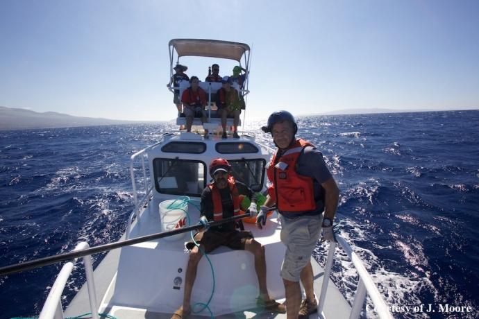 Entanglement response team onboard Kohola. (Courtesy of J. Moore - NOAA Fisheries MMHSRP permit # 932-1905)