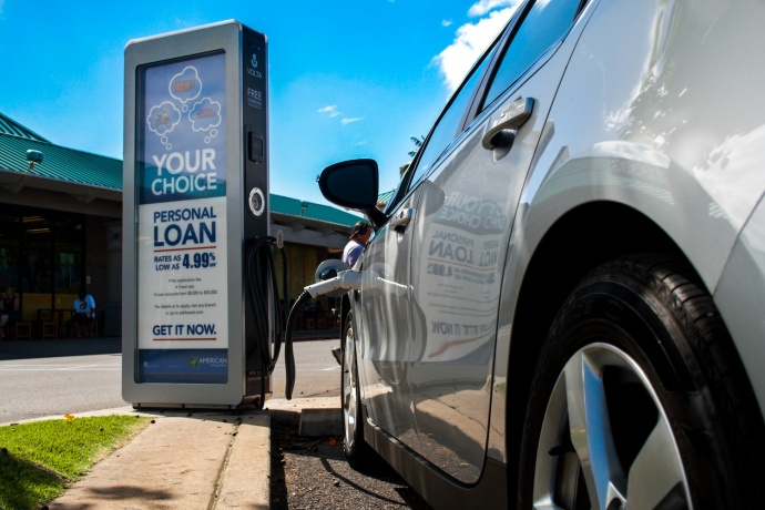 Volta EV charging station fronting Whole Foods in Kahului. Courtesy photo.