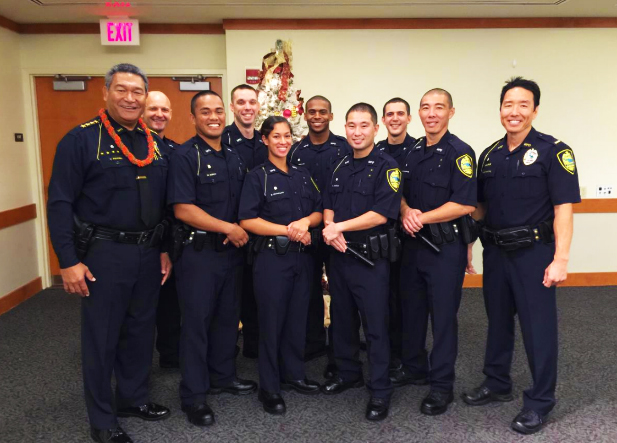 Front row (L to R): Chief Tivoli Faaumu, Officer Manuel Sorcy, Officer Bethany Cravalho, Officer Shaun Shiraki, Officer Devin Schoeppner, Lieutenant Gregg Okamoto. Back row: Officer Dumitru Vandici, Officer Jacob Kartchner, Officer Kawika Ornellas, and Officer Matthew Naeole. Photo courtesy Maui Police.