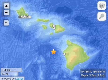 4.1 Hawaiʻi Earthquake off of Kailua-Kona. Image courtesy USGS.