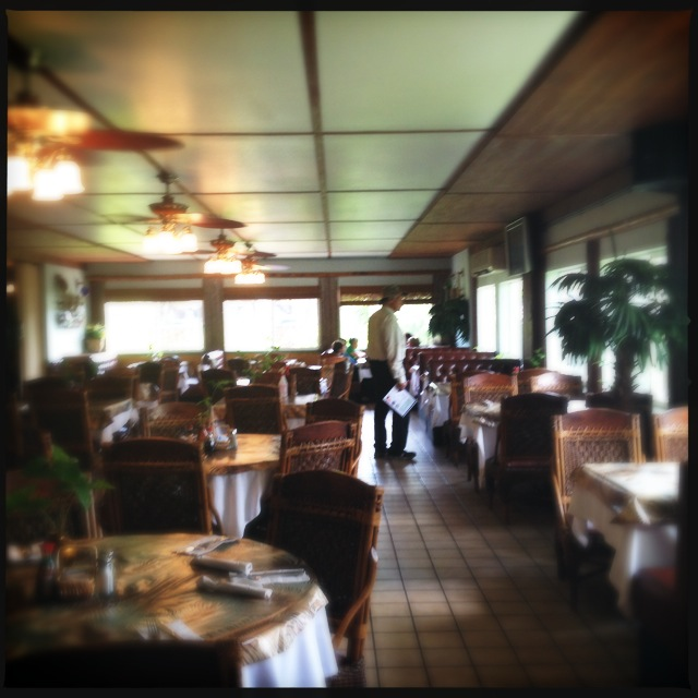 The restaurant's interior is a bit old skool as well. Photo by Vanessa Wolf