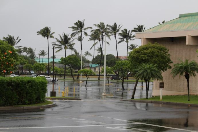 Rain and wind in Kahului.