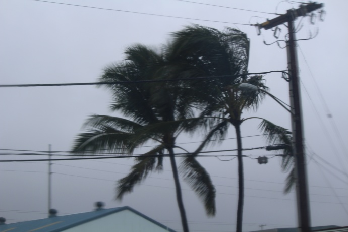 Rain and wind in Kahului.