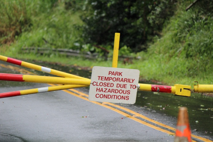ʻĪao Valley State Park closed due to hazardous conditions 12/23/14.