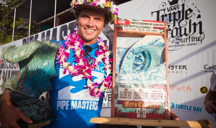 Julian Wilson of Australia won the Pipeline Masters and the 2014 Vans Triple Crown of Surfing on Friday. Photo by ASP / Laurent Masurel.