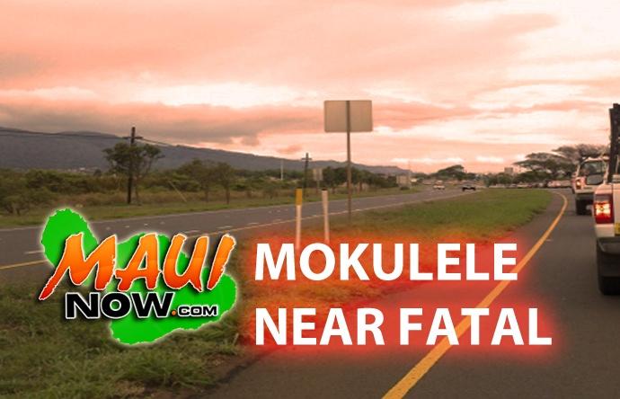 Mokulele Highway near fatal. Graphics: Wendy Osher/Maui Now.