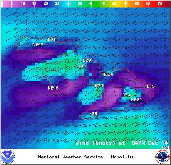 Sunday 4 p.m. - Image: NOAA / NWS