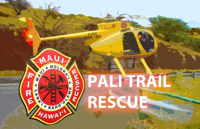 Pali Trail Rescue. Graphics by Wendy Osher/Maui Now.