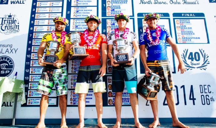 From left, Vans World Cup of Surfing winner Michel Bourez won with a score of 18.13, runner-up Dusty Payne (14.60), third-place finisher Sebastian Zietz (8.93), and Ian Walsh (4.90) placed fourth. Photo by ASP / Ed Solane.