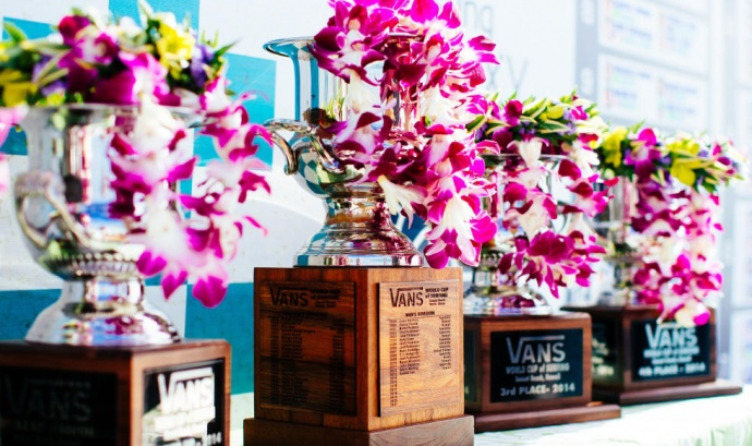 The winner's hardware from the Vans World Cup of Surfing at Sunset Beach. Photo by ASP / Ed Solane.