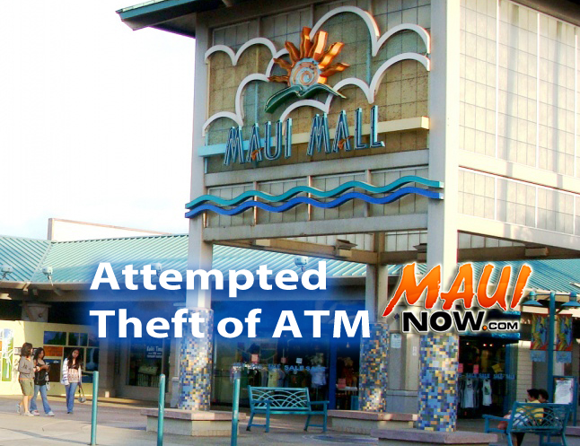 Attempted theft of ATM at Maui Mall. Photo/Graphics by Wendy Osher/Maui Now.