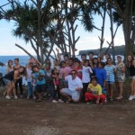 "John Fierro, owner of Platinum Tours,  is pictured here with kids from Big Brothers Big Sisters of Maui on ""The Road to Hana."""