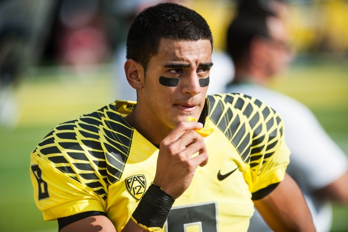 Marcus Mariota's victory was lopsided. He received 90.9 percent of all available votes, which is the second-largest margin of victory, behind only only Ohio State quarterback Troy Smith's 91.6 in 2006. File photo from Oregon Athletics.