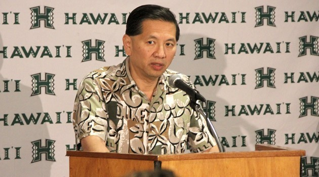 University of Hawaii Athletic Director Ben Jay annouced his resignation Tuesday at a press conference on Lower Campus. Photo by UH Athletics.