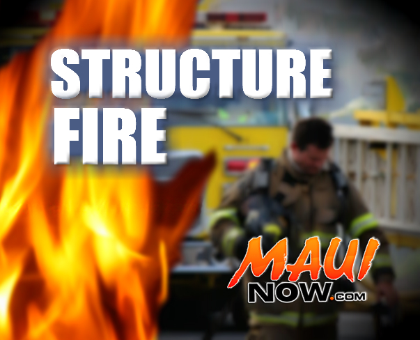 Structure fire, Maui Now graphic.