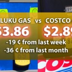Wailuku vs Costco gas. Graphics by Wendy Osher / Maui Now.