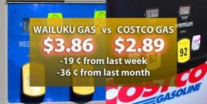 Wailuku vs Costco gas. Graphics by Wendy Osher / Maui Now.