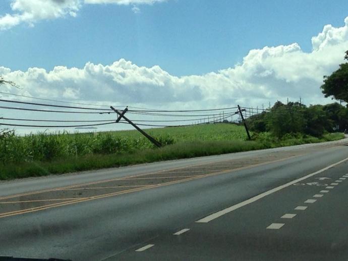 """Leaning and cracked utility pole across from Maui Tropical Plantation on Honoapiilani Highway"" 1/3/15 - Image: Robert Anthony Medina"