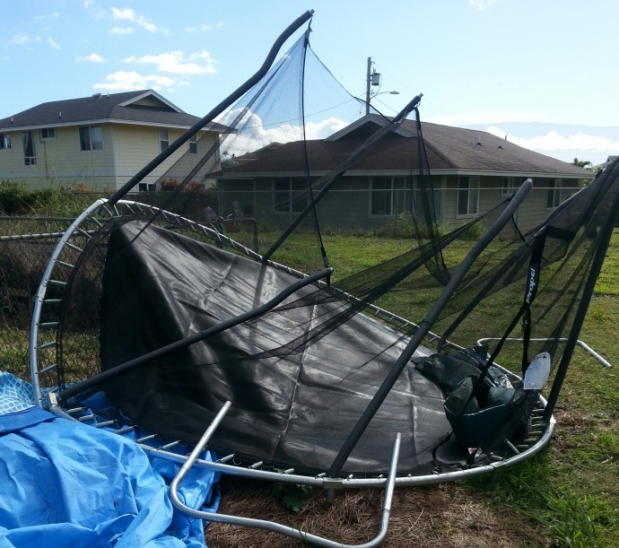 New trampoline destroyed by winds 1/3/15 - Image: Hoku La'anui