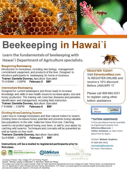 Beekeeping in Hawaii. UHMC flyer.