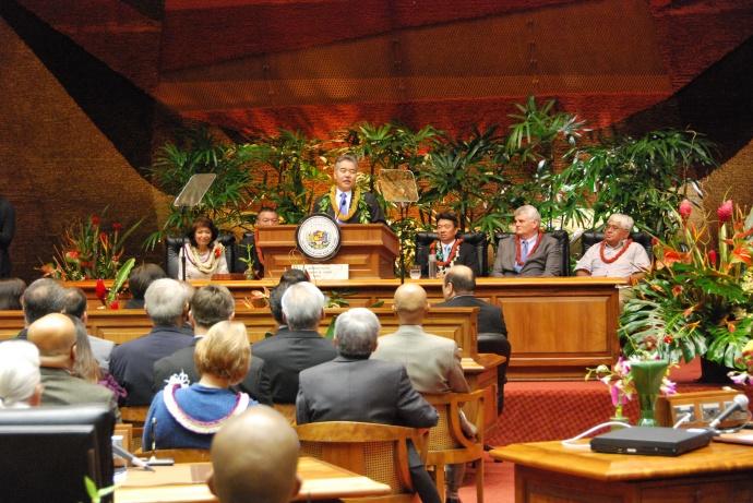 Gov. David Ige delivers State of the State Address on Jan. 26,  2015