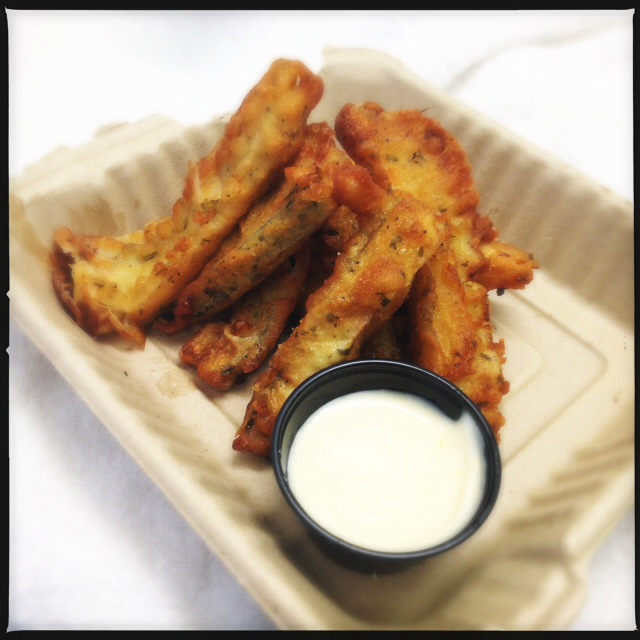 The Zucchini Sticks come with a side of lemon frosting, er, aioli. Photo by Vanessa Wolf