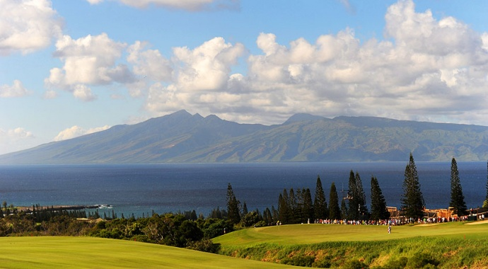 Views of West Maui from The Plantation Course at the Kapalua Resort. Photo by Stan Badz/PGA TOUR.