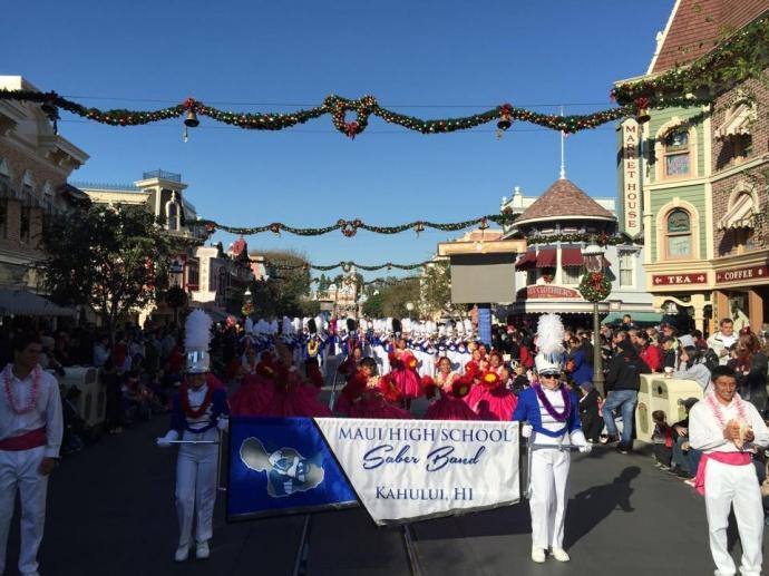 Maui High Band at Disneyland Parade. Photo courtesy MHS Band Facebook.